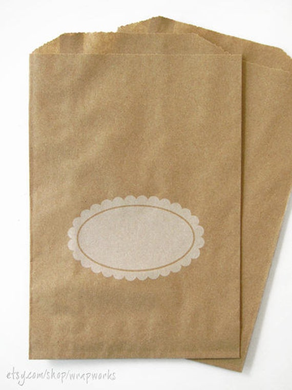 25 Kraft Paper Bags 5 X 7 5 With White Scalloped Etsy