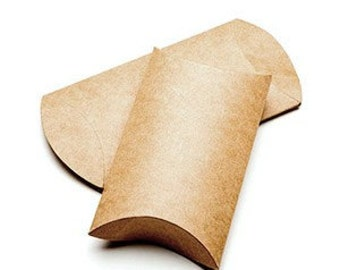 25 Brown Kraft Pillow Boxes 2 x 3/4 x 3 Inches, Usable Space 2 x 2 1/2 Inches