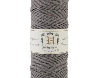 Gray 20lb Hemp Cord / Twine for Packaging, Jewelry, Etc. 205 Feet - Natural and Eco-Friendly