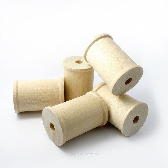 """Crafts 1/"""" x 3//4/"""" twine Set of 100 blank Wooden Spools for lace thread ribbon"""