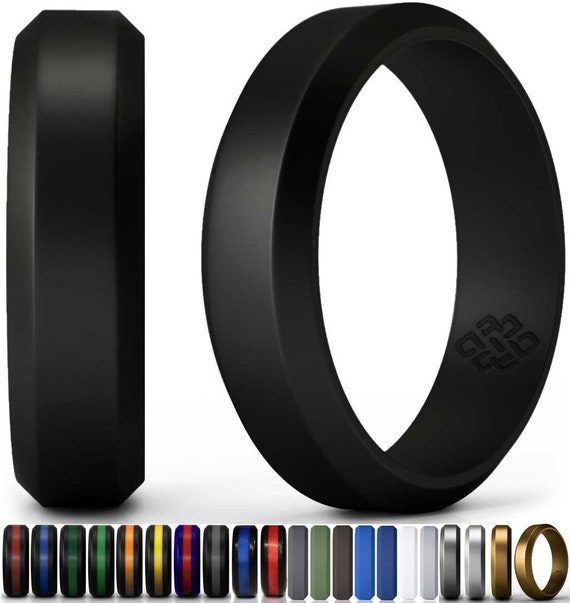 Silicone Wedding Ring Band By Knot Theory Black 6mm 8mm Etsy