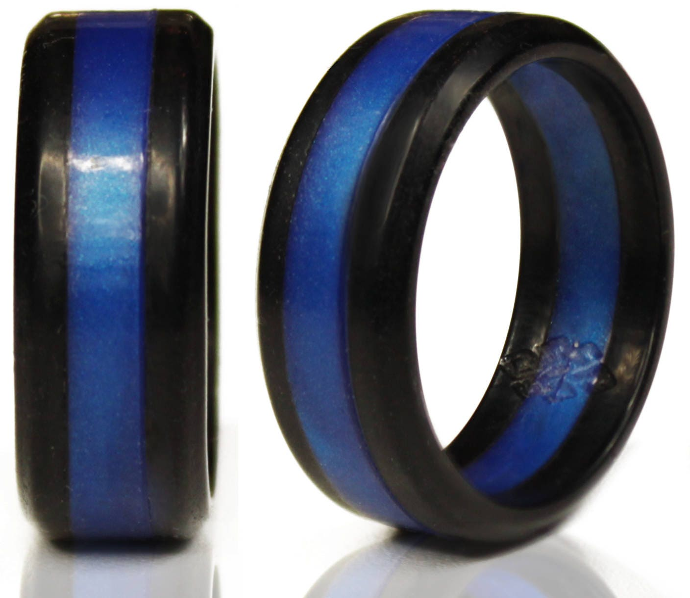 Silicone Wedding Ring.Silicone Wedding Rings By Knot Theory Black With Blue Metallic Stripe Safe Lightweight Wedding Band