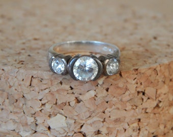 Vintage sterling silver cubic zirconia three stone ring, cz silver ring