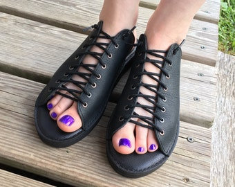 Leather Sandals custom made Any Size lace up slide on custom fit