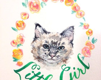 Custom Pet Portrait in Watercolor Personalized with flowers and name- Corgi, Boston Terrier, Cat, Frenchie, Painting from photo