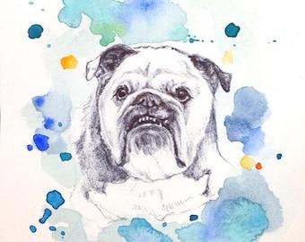 Custom Pet Portrait -Photos to paintings, Personalized dog art, pet art, English bulldog art, bulldog art, german shepherd, Birthday Present