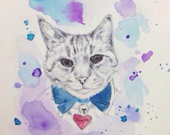 Custom Pet Portrait - Photos to paintings, Personalized dog art, pet art, cat art, cat portrait, Mother's Day Present , Birthday Present
