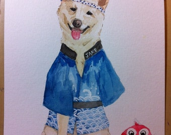 CUSTOM PET PORTRAIT - original watercolor painting of your pet, not a print - Shiba Inu, Corgi, Maltese, Dog Watercolor Hipster, Bulldog