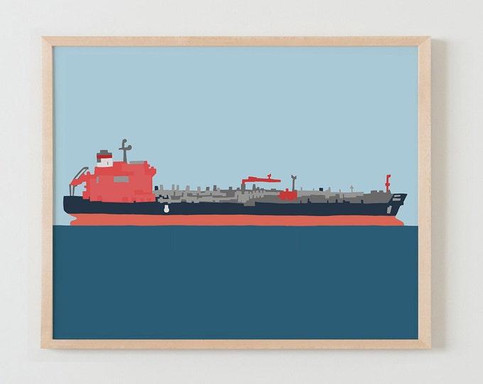 Fine Art Print.  Tanker Ship.  January 13, 2016.