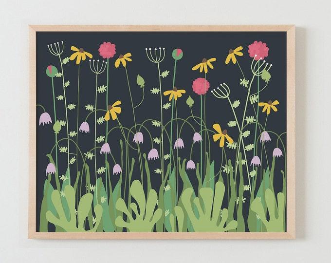 Fine Art Print.  Flowers at Night. November 5, 2015.