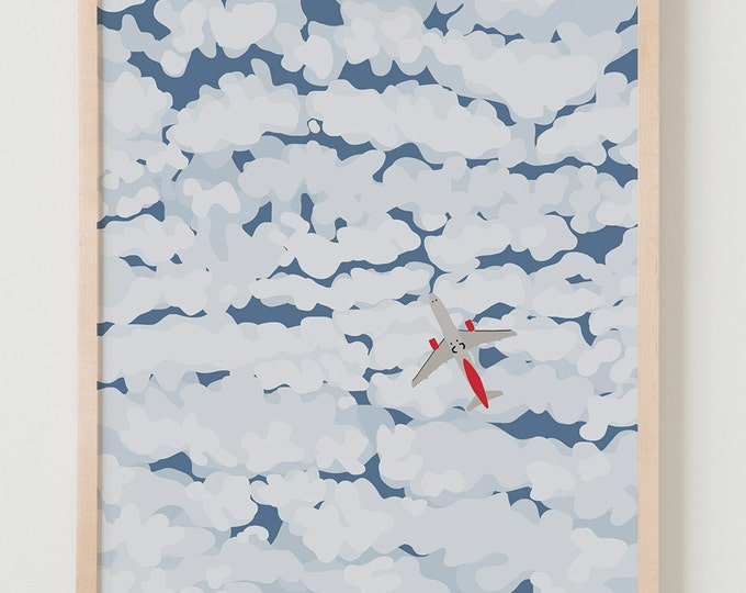 Fine Art Print.  Sky with Airplane and Clouds.  January 30, 2014.