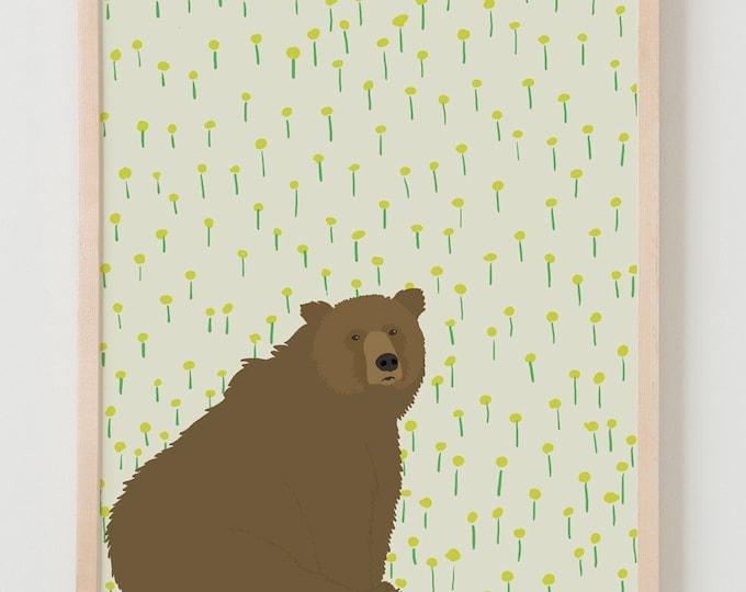 Fine Art Print.  Bear and Dandelions.  October 23, 2012.