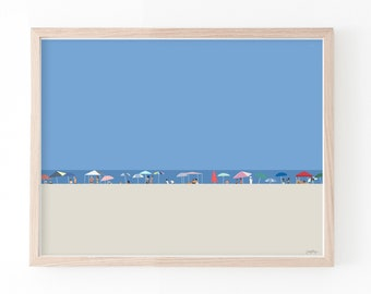 A Day at the Beach Art Print. Signed. Available Framed or Unframed. 210918.
