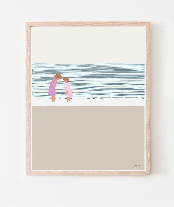 Girls at the Beach Art Print. Available Framed or Unframed. Multiple Sizes. 140619.