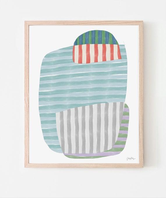 Multicolor Stripes Art Print. Available Framed or Unframed. 170914.