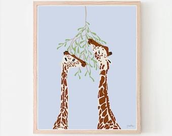 Giraffes Art Print. Signed. Available Framed or Unframed. Multiple Sizes. 130116.