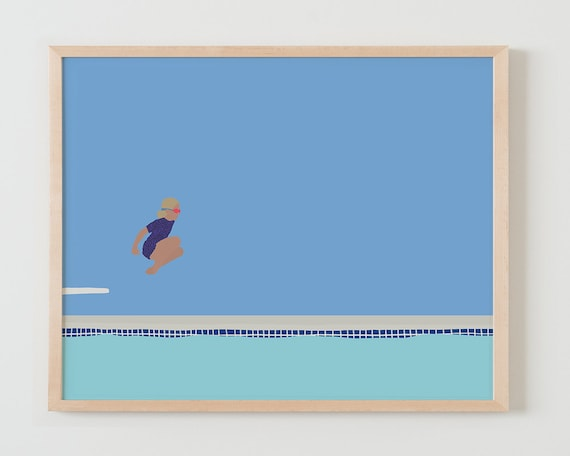 Fine Art Print.  Girl Jumping off Diving Board into Swimming Pool. July 13, 2015.