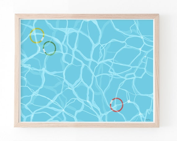 Swimming Pool Water with Diving Rings Art Print. Available Framed or Unframed. 160523.