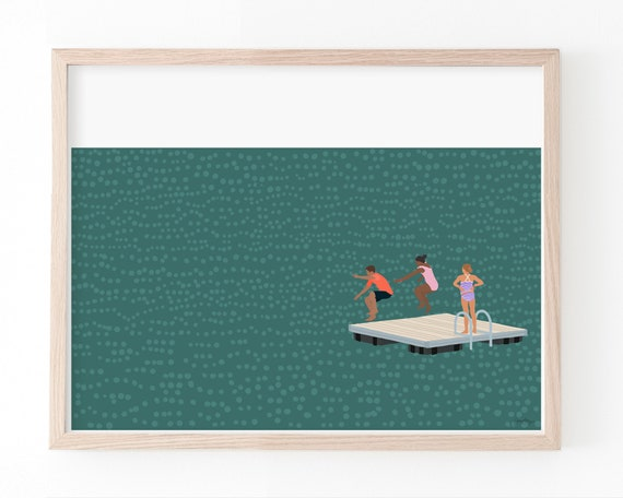 Jump In The Lake Art Print. Signed. Available Framed or Unframed. 210602.