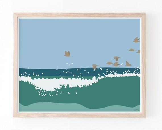 Flock of Birds in the Waves Art Print. Available Framed or Unframed. 140816.
