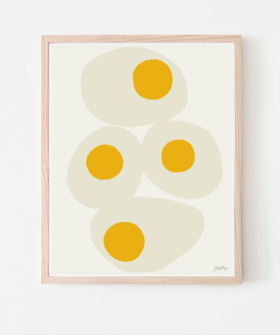 Fried Eggs Art Print. Multiple Sizes. Available Framed or Unframed. 140321.