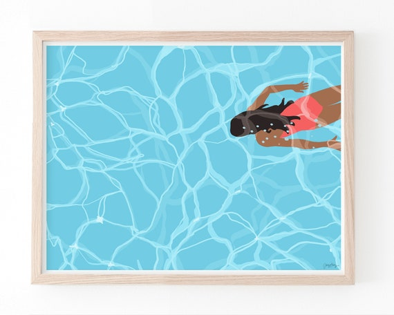 Woman Swimming Underwater Art Print.  Available Framed or Unframed. 160524.
