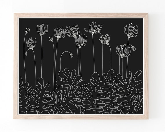White Flowers on Black Background Art Print. Available Framed or Unframed. Multiple Sizes Available. 151102.