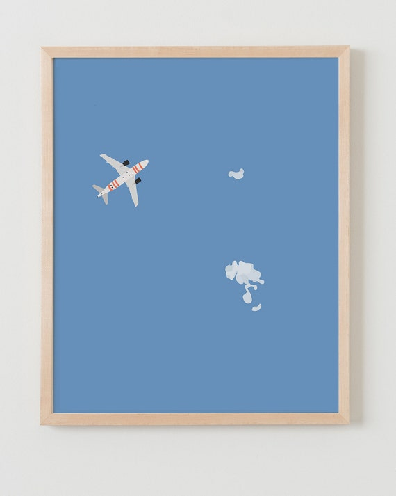 Fine Art Print.  Sky with Airplane and Tiny Clouds.  January 29, 2014.