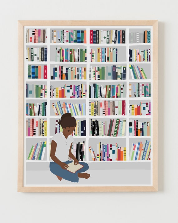 Fine Art Print.  Bookworm. Available Framed or Unframed.