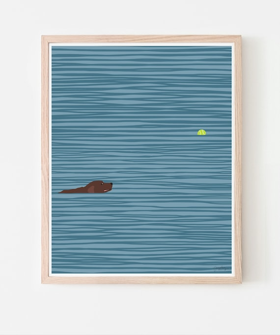 Dog Swimming with Tennis Ball Art Print. Available Framed or Unframed. 140306.