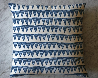 Blue Striped Triangles Throw Pillow. June 9, 2016