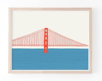 Golden Gate Bridge Art Print Right. Available Framed or Unframed. Multiple Sizes. 150325.
