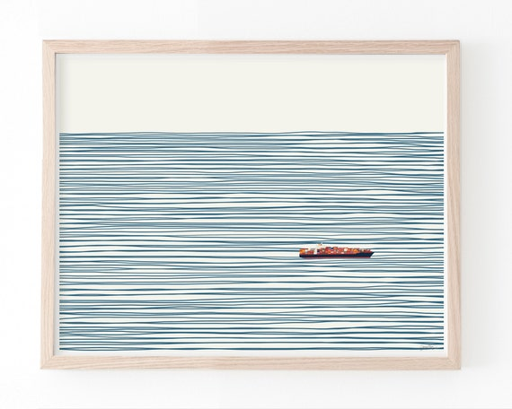 Container Ship Landscape Art Print. Multiple Sizes. Available Framed or Unframed. 140127-L