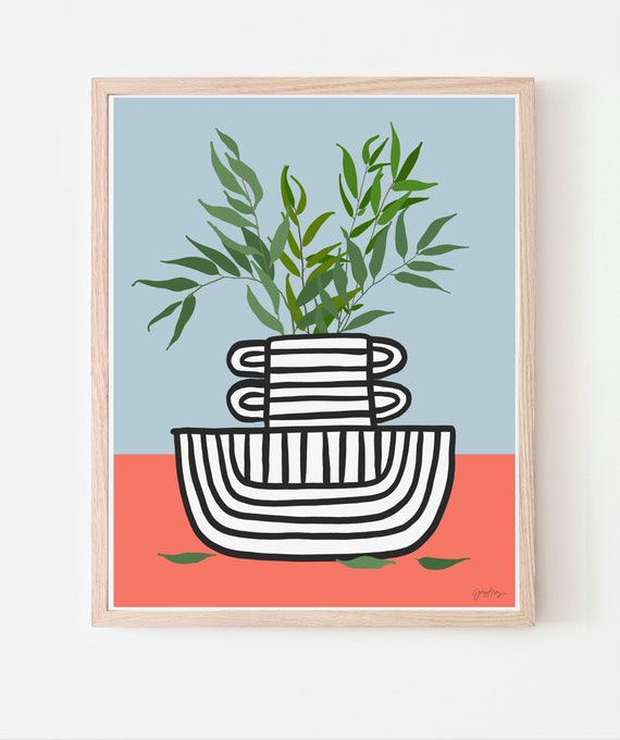 Still Life with Willow Branches in Striped Vase Art Print. Available Framed or Unframed. Multiple Sizes. 210102.