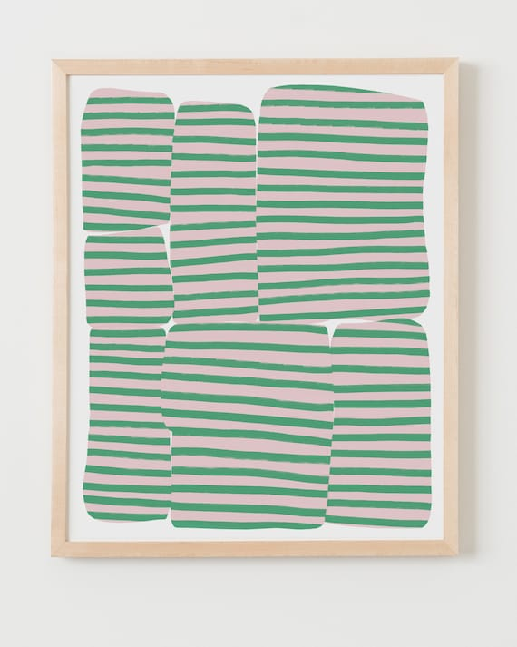 Fine Art Print.  Abstract with Pink and Green Stripes, June 25, 2020.