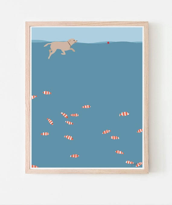Dog Swimming in Ocean Art Print. Available Framed or Unframed. 150203.