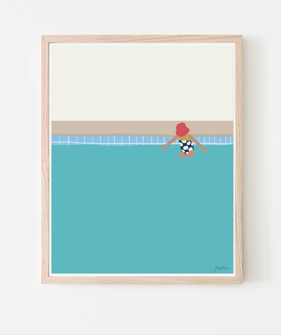 Girl in the Pool Art Print. Available Framed or Unframed. 140702.