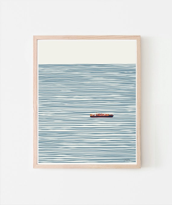 Container Ship on Striped Ocean Signed Art Print. Available Framed or Unframed. 140127.