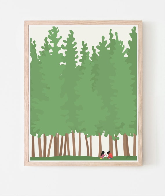 Girls Playing in the Woods Art Print. Available Framed or Unframed. 200819.