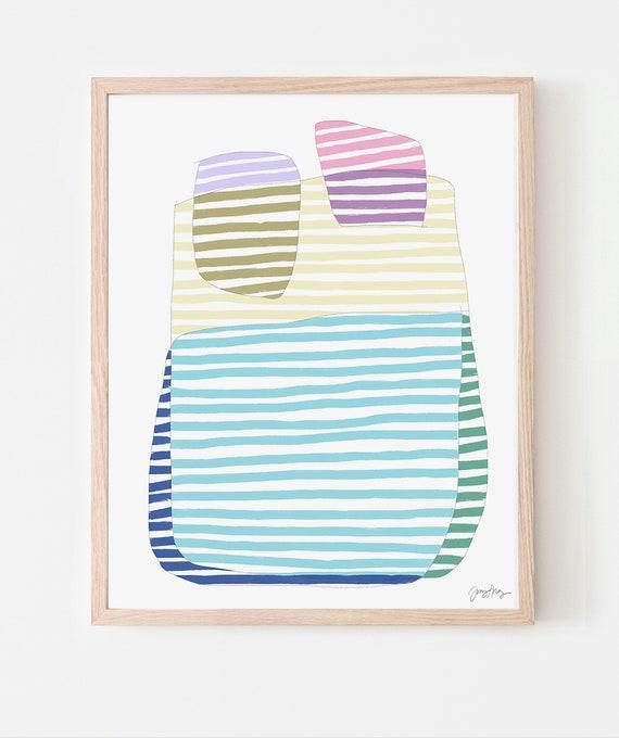 Multicolored Stripes Art Print. Framed or Unframed. 170905.