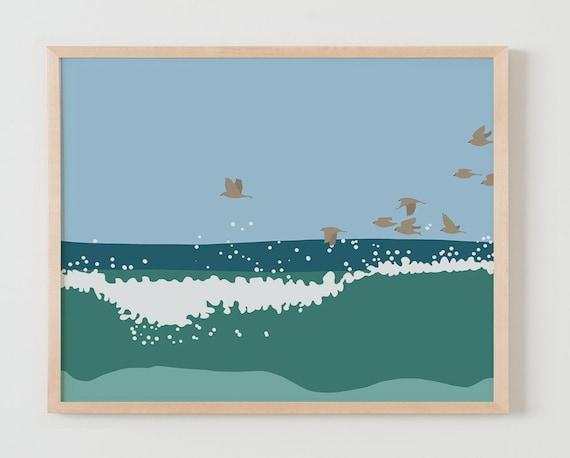 Fine Art Print. Flock of Birds in the Waves. Available Framed or Unframed.