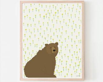 Bear and Dandelions Art Print. Signed. Available Framed or Unframed. Multiple Sizes. 121023.