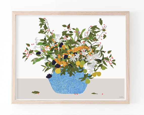 Still Life with Flowers and Blue Dotted Vase Art Print. Available Framed or Unframed. 210309.