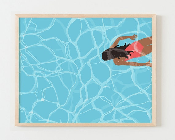 Fine Art Print.  Woman Swimming Underwater in Pool.  May 24, 2016.