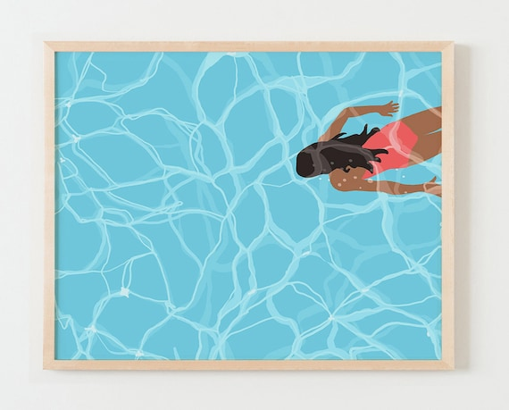 Framed Framed Fine Art Print. Woman Swimming Underwater in Pool.  May 24, 2016.