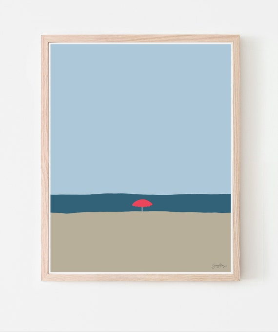 Beach with Red Umbrella Art Print. Available Framed or Unframed. 120529.