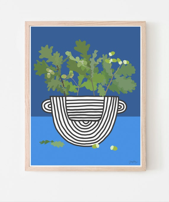 Still Life with Oak Branches in Striped Vase Art Print. Available Framed or Unframed. Multiple Sizes. 201211.