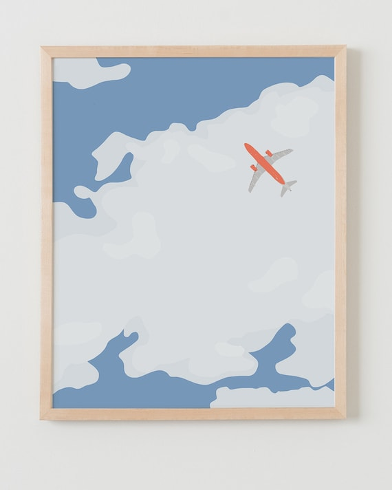 Fine Art Print.  Sky with Airplane and Clouds.  January 16, 2014.