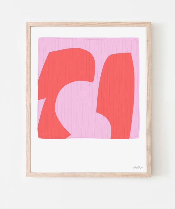 Abstract Art Print with Pink and Red. Available Framed or Unframed. 190309.