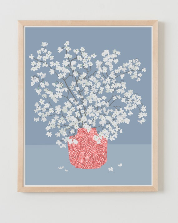 Fine Art Print.  Still Life with White Flowers. Available Framed or Unframed.